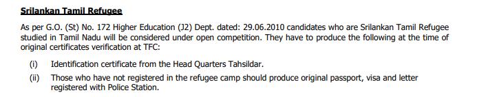 Tamil Nadu B.Arch Admissions Sri Lankan Refugees Eligibility