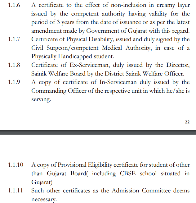Gujarat University B.A Application Form Documents