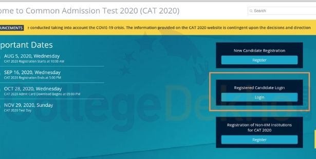 Login Box on the CAT Home Page