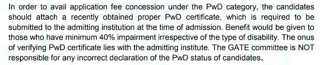 GATE 2021 PwD Certificate IA