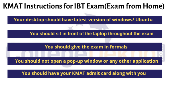KMAT Instructions for IBT Exam(Exam from Home)