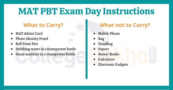 MAT PBT Exam Day Instructions
