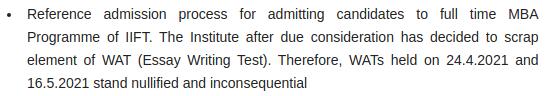 IIFT Notification Regarding Scrapping of WAT