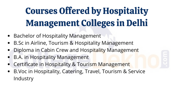 Courses Offered by Hospitality Management colleges in Delhi
