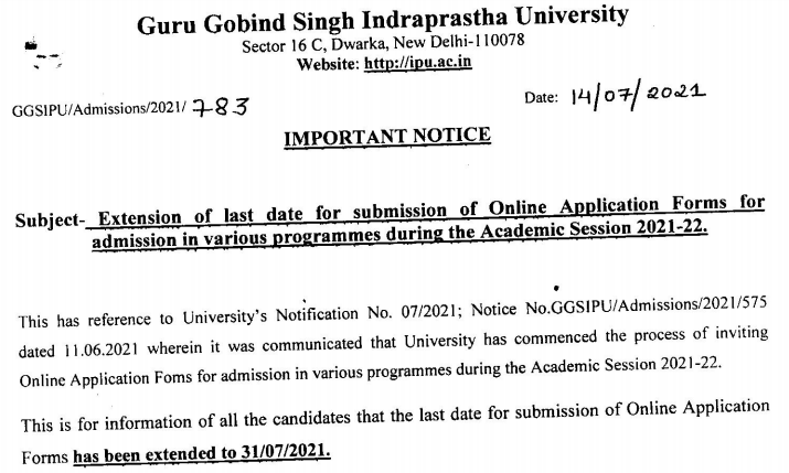 Notificaiton for extension of last date for IPU CET