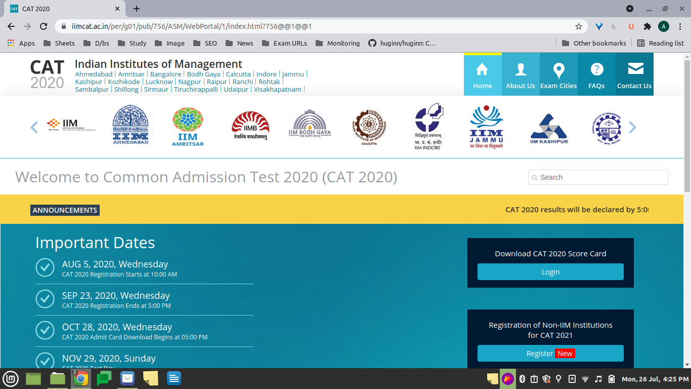 IIMCAT Home Page at 4:25 pm on July 26